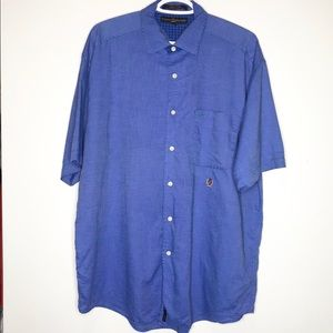 TOMMY HILFIGER Blue Button Down Short Sleeve Top L